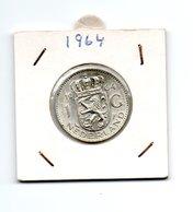 NEDERLAND 1 GULDEN 1964 JULIANA ZILVER - [ 3] 1815-… : Royaume Des Pays-Bas