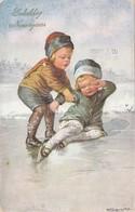1133/ W. Fialkowska, Kinderen Op Ijs, Schaatsen, Gelukkig Nieuwjaar, 1932 - Fialkowska, Wally