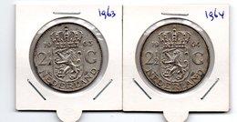 NEDERLAND 2 1/2 GULDEN 1963 + 1964 JULIANA ZILVER - [ 3] 1815-… : Royaume Des Pays-Bas