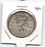 NEDERLAND 2 1/2 GULDEN 1961 JULIANA ZILVER - [ 3] 1815-… : Royaume Des Pays-Bas