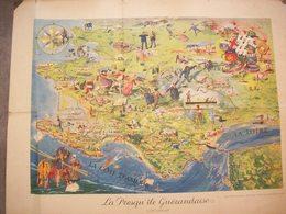 Carte Ancienne La Presqu'île Guérandaise ( Côte D'Amour ) - Geographical Maps