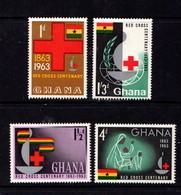 GHANA   1963    Red  Cross  Centenary    Set  Of  4    MH - Ghana (1957-...)
