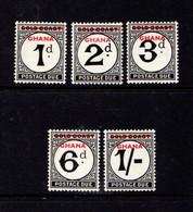GHANA   1958    Postage  Due    Set  Of  5    MH - Ghana (1957-...)