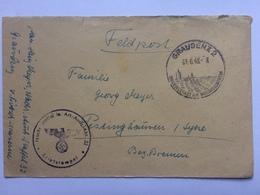 GERMANY 1943 Feldpost Cover Graudenz To Bremen With `Nachr Staffel Le. Art. Ausb. Abt. 32` Cachet With Sonderstempel - Allemagne