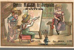 CHROMO  GRANDE MAISON DE PARAPLUIE D'ANVERS  LE PEINTRE ET SON MODELE - Other