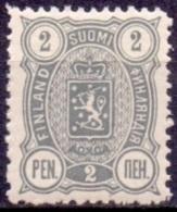 FINLAND 1889-1900 2 Pen Grijs Wapentype Drie Cijfers Tanding 14x12 PF-MNH - 1856-1917 Russische Verwaltung
