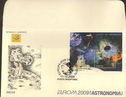 "ALBANIA - EUROPA 2009 - TEMA ""ASTRONOMIA"" - FDC's De La SERIE`y De La HOJITA BLOQUE - DENTADA  (PERFORATED) - Europa-CEPT"