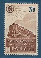 Timbre Neuf* France, N°208 Yt, Colis Postaux, Domicile, 3 Fr, Locomotive à Vapeur, Charnière - Colis Postaux