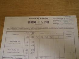 Bordereau De Décompte 1937 - Emprunt ROYAUME DE ROUMANIE émission Funding 4 1/2% De 1934 - Banca & Assicurazione