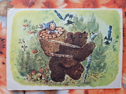 RUSSIAN FAIRY TALES -  Champignon - Old Postcard - MUSHROOM 1958 - Magpie - Champignons