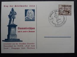 Sonderkarte Tag Der Briefmarke 1938 Mit Sonderstempel Halle (571) - Briefe U. Dokumente