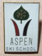 SKIING / SKI - ASPEN SCHOOL - Enamel Badge / Pin - Winter Sports