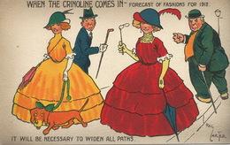 Reg Carter Catoonist Born In Suffolk Southwold The Crinoline Fashion 1912 Girls Men Teckel Dachshund - Illustrators & Photographers