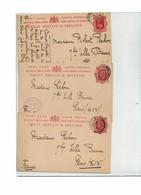 FAL13 - GRANDE BRETAGNE PETITE ARCHIVE DE 3 CARTES POSTALES TYPE EDUARD VII AYANT CIRCULE - Stamped Stationery, Airletters & Aerogrammes