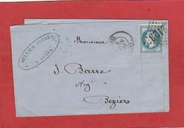 Herault - Lunel - GC 2123  Sur N°29 - LAC Vers Béziers 1867 - Marcophilie (Lettres)