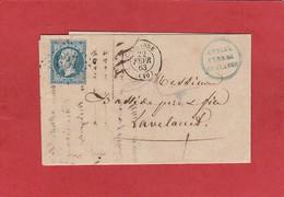 Aude - Chalabre - GC 837 Sur N°22 - LAC 1863 - Marcophilie (Lettres)