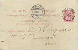 Belgique. CP 21 I   Cortenbergh > Meiringen Suisse  Poste Restante  1892 - Altri