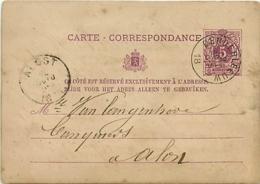 Belgique. CP 10  Denderleeuw (millésime Manquant) > Alost  1876 - Poststempels/ Marcofilie