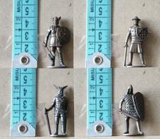 MONDOSORPRESA, (SLDN°30) KINDER FERRERO, SOLDATINI IN METALLO SERIE 4 VALORI GUERRIERI 1 - 12 SECOLO 40MM BRUNITI - Figurine In Metallo
