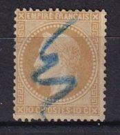 FRANCE - 10 C. Lauré Type II Annulé Au Crayon Bleu - 1863-1870 Napoleon III Gelauwerd