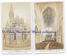 CAEN - ABSIDE ET INTERIEUR DE L EGLISE ST PIERRE - CALVADOS - PHOTO CDV - LOT DE 2 - Anciennes (Av. 1900)