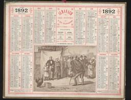 """Almanach Des Postes 1892, """"le Photographe Ambulant"""", Illustration ARISTIDE BOULINEAU Cartonnage TB - Grossformat : ...-1900"""