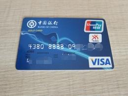 Bank Of China Invalided VISA Card,swimming, Gold Card - Cartes De Crédit (expiration Min. 10 Ans)