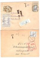 3132/ 2 Lettres Taxées 1 Brugge 1973 & Rudervoorde 1990 Griffe T T 44 Ex F 13 & TTx 78(2) C.Brugge Etiq.geweigerd Terug - Postage Due