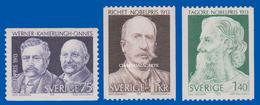 SWEDEN  1973 NOBEL PRIZE WINNERS 1913  U.M.  FACIT 850-852 - Sweden