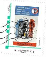MonTimbraMoi MTM (2016) - Paris, Arc De Triomphe, Ravivage De La Flamme Du Souvenir, Soldat Inconnu. Lettre Verte 20 G. - Francia
