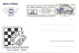 ITALIA - 1970 IMPERIA XII Torneo Scacchi (scacchiera, Torre, Cavallo Dentro Un Francobollo Dentellato)- Ann. A Targhetta - Scacchi