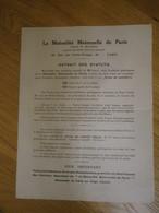 Prospectus La Mutualité Maternelle De Paris 39 Rue Des Petits-Champs - Extrait Des Statuts - Banca & Assicurazione