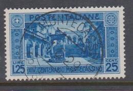 Italy S 266 1929 Abbey Of Montecassino, Lire 1,25 Blue, Used - Usati