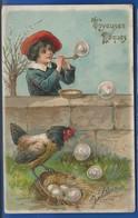 Coq Et Garçon Faisant Des Bulles    Joyeuses Pâques    Carte En Relief    écrite En 1912 - Pâques
