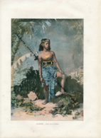 Document (1880) : Samoa, Jeune Fille, Photographie Aquarellée (Aquarelle), Souvenir De Voyage - Samoa