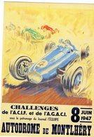 Challenges De L'ACIF Et De L'AGACI à Autodrome De Montlhéry 1947 - Artwork By Geo Ham -  CPR - Le Mans