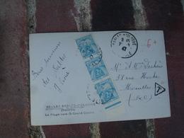 Lettre Taxee Timbre Gerbes Gerbe Paire Bande De Trois 2 F Bord De Feuille - Postage Due Covers