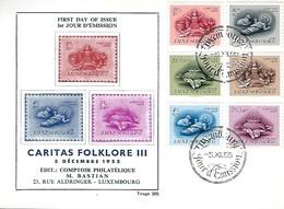 5.12.1955  -  CARITAS FOLKLORE III  5 Décembre 1955  - Edit. Comtoir Philatlétique  M. Bastian - FDC