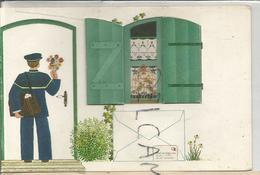 Dessin Naïf. Facteur Apporte Des Fleurs Et Une Enveloppe. Volets Ouvrant Sur Une Fenêtre. - Poste & Facteurs
