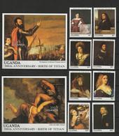 Uganda 1988 Paintings Titian - Tiziano Set Of 8 + 2 S/s MNH - Arte