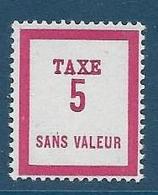 Timbre  Fictif Neuf** France, N°FT 5, Taxe, 5 - Fictie