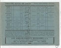 Programme Du Théâtre Royal De Liège De Février 1949. Avec Clara Clairbert. - Programmes