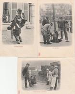 3 CPA:MÉTIERS À PARIS (75) LES ÉGOUTIERS,TÉLÉGRAPHISTES ET PÂTISSIERS,MARCHAND D'HABITS - Petits Métiers à Paris