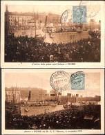 Lot 2 Postcards - L'Arrivo Delle Prime Navie Italiane A Fiume (SIcilia, RARE) - Piroscafi