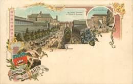 75 - PARIS - Carte Précurseur Kunzli 800 - Souvenir De Paris - Les Halles Centrales Et La Porte St Denis - France