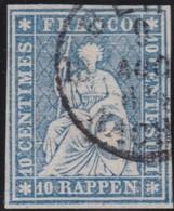 Schweiz  .  Yvert  .    27   (2 Scans)    .    O     .   Gebraucht  .   /   .  Oblitéré - 1854-1862 Helvetia (Ungezähnt)