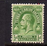 TURKS AND CAICOS 1922 1926 KING GEORGE V RE GIORGIO 1/2p MLH - Turks E Caicos
