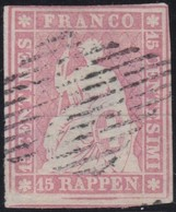 Schweiz  .  Yvert  .    28   (2 Scans)    .    O     .   Gebraucht  .   /   .  Oblitéré - 1854-1862 Helvetia (Ungezähnt)