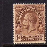 TURKS AND CAICOS 1922 1926 KING GEORGE V RE GIORGIO 1p MNH - Turks E Caicos