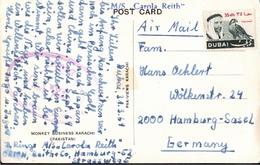 ! 1969 Postcard From Dubai, United Arab Emirates, Trucial States, Monkeys, Karachi, Ship MS Carola Reith - Dubai